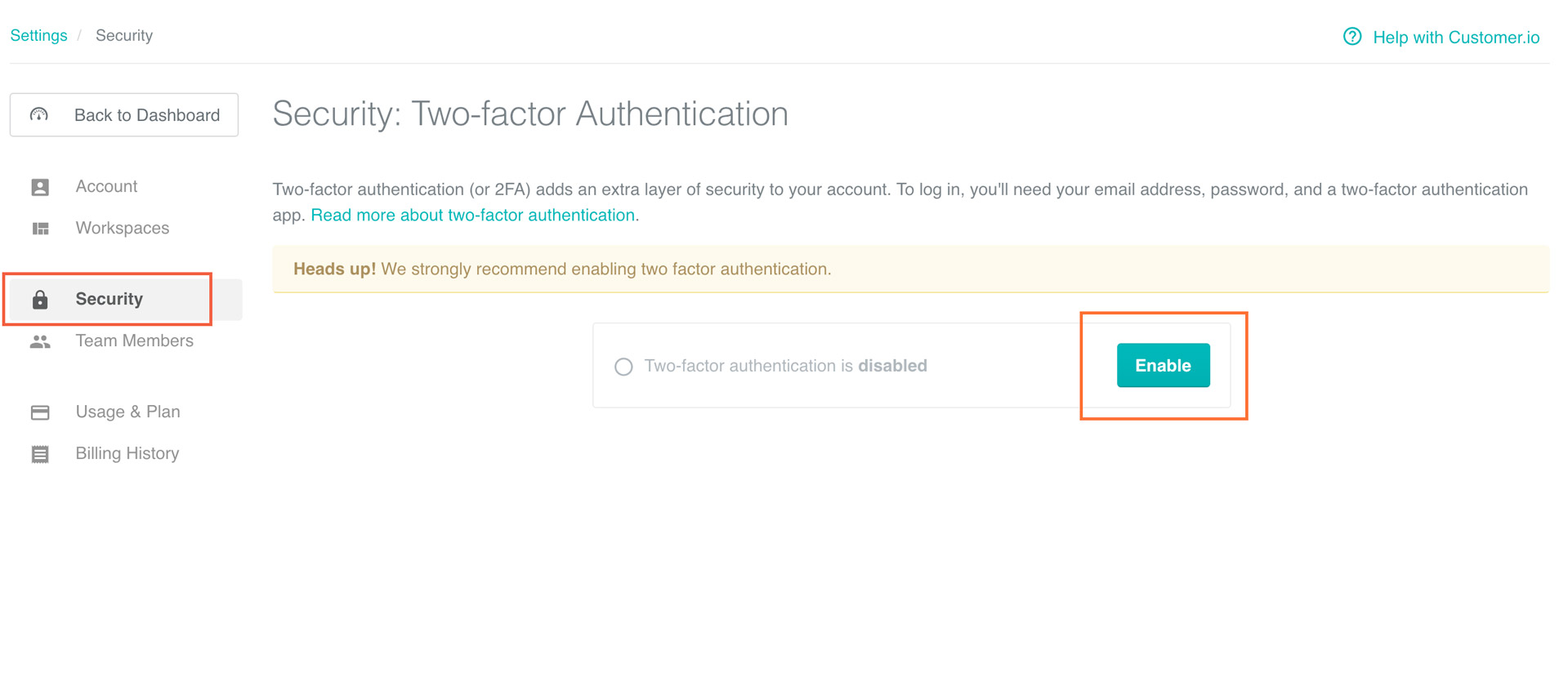 Two-factor authentication: Enable